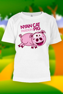 Nyan Cat Pardon Pig - dečija majica
